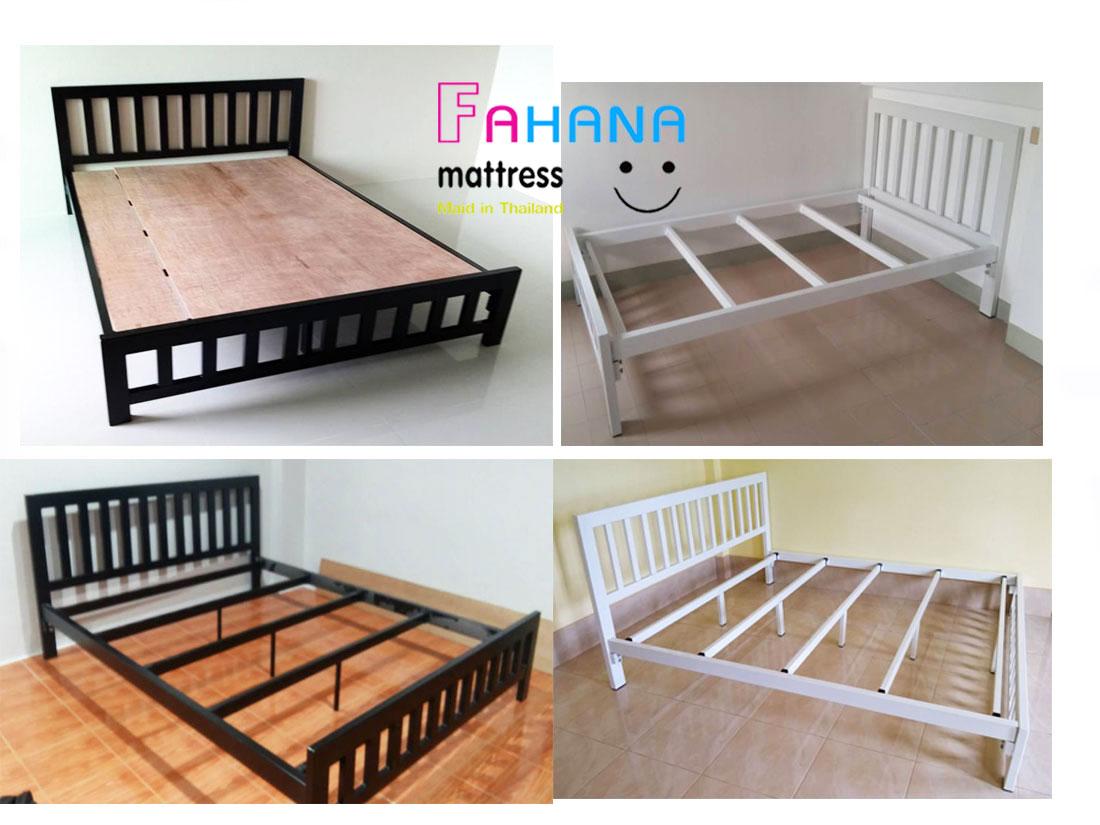 รูป เตียงเหล็กกล่องเสา 3 นิ้ว พร้อมพื้นไม้อัดแท้ หนา 10 มม. ราคาถูกจริง fhn-39 ที่ 2