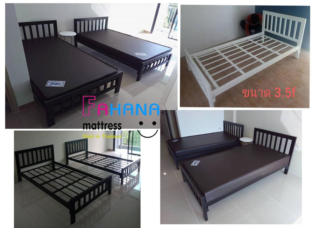 รูป (ชุดหอพัก ทั้งชุด) เตียงกล่องเหล็กเสา 3 นิ้วพื้นระแนง อย่างดี พร้อม ที่นอนยางอัดเกรดเอ หุ้มหนัง ราคา Pro ที่ 2