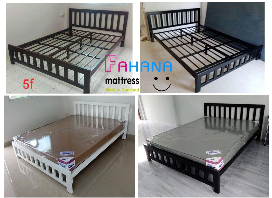 รูป (ชุดหอพัก ทั้งชุด) เตียงกล่องเหล็กเสา 3 นิ้วพื้นระแนง อย่างดี พร้อม ที่นอนยางอัดเกรดเอ หุ้มหนัง ราคา Pro ที่ 3