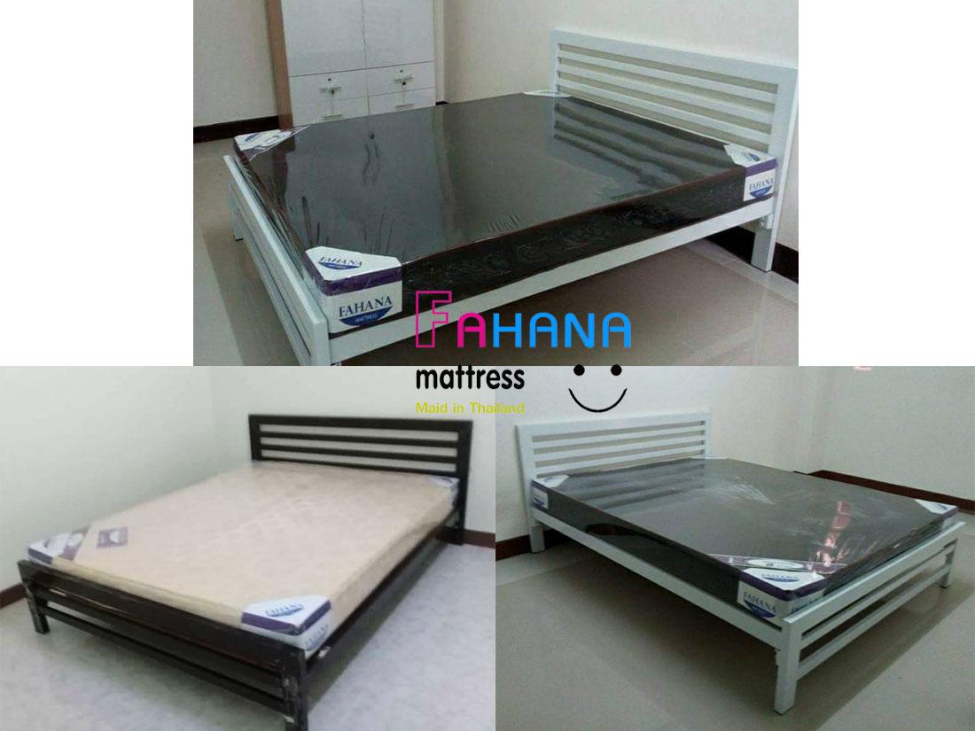 รูป เตียงเหล็กกล่อง หัวแนวนอนเสา 3 นิ้ว พื้นไม้อัดแท้หนา 10 มม.  ราคาถูกจริง fhn-71 ที่ 4